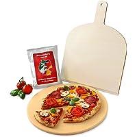 Vesuvo V32001 Pizzastein- / Brotbackbackstein Set für Backofen und Grill / rund 32cm / mit Pizzaschaufel und Pizzamehl