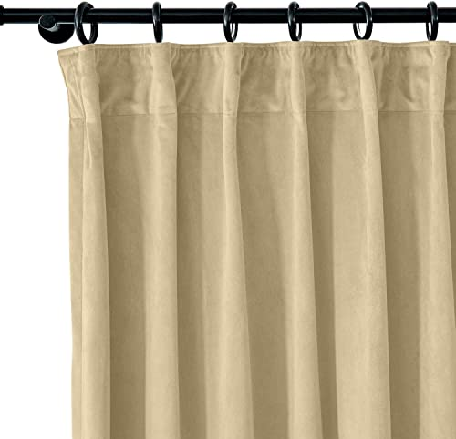 Drapifytex Extra Wide 150 W by 96 L Velvet Drape for Living Room, Pleated Tape Room Darkening Curtain, Blackout Panel 96 Long, Khaki Panel
