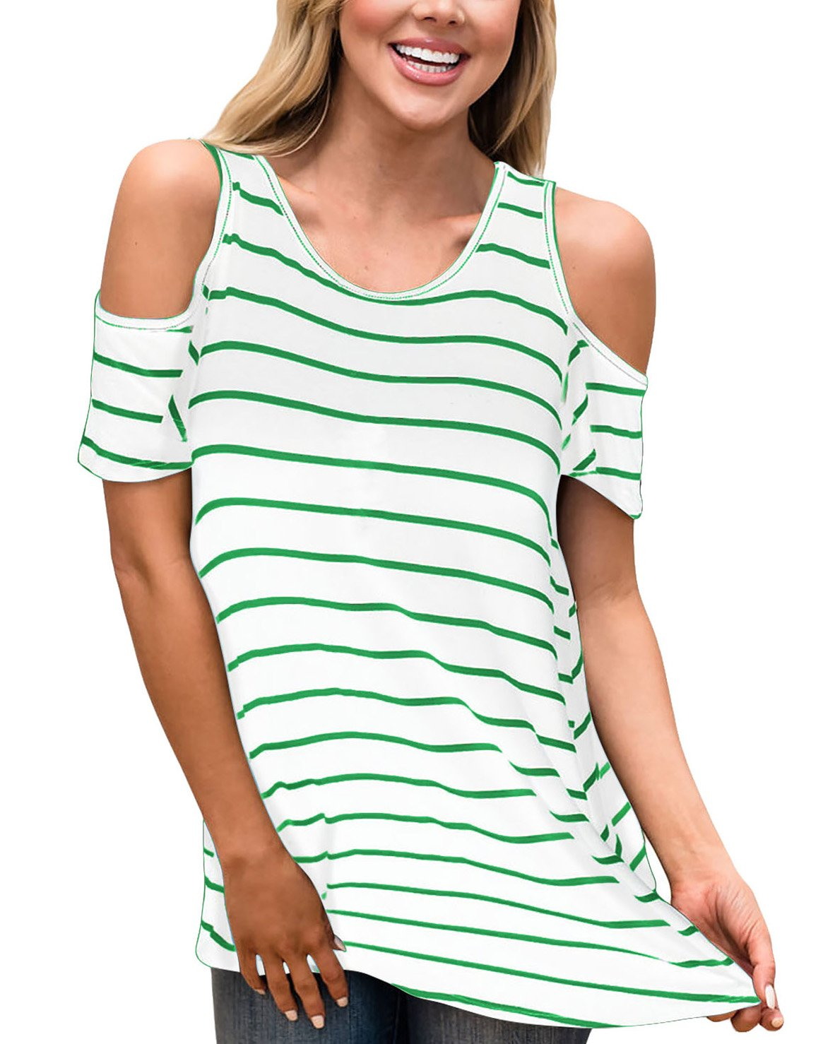 Aliex Women's Cold Shoulder Casual Tunic Top Short Sleeve Blouse T-Shirt Stripe Green M