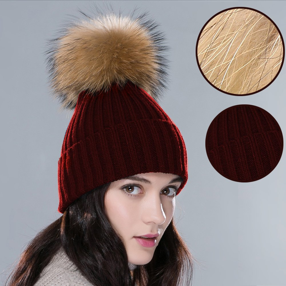 inextstation LED® Frauen Girl 's Beanie Knit Fell Pompon Ball Winter Warm Strickmütze Häkelmütze Ski Cap weinrot