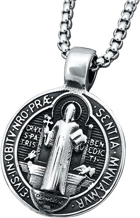 ENHONG Collier Pendentif Exorcisme St Beno/ît Acier Inoxydable Croix Catholique Romaine Protection D/émon Chasseur Fant/ôme