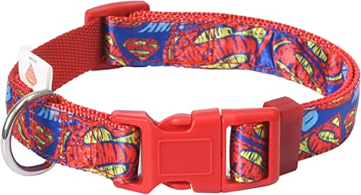 DC Comics Superman Dog Collar, Red   Officially Licensed DC Comics Superman Logo Dog Collar   Dog Collar for All Sized Dogs with D-Ring, Cute Dog Apparel & Accessories for Pets