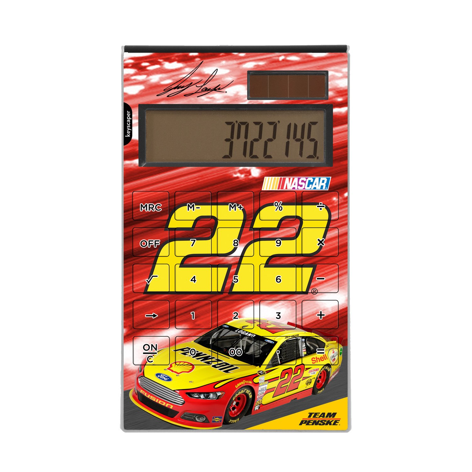 Joey Logano Desktop Calculator officially licensed by NASCAR Full Size Large Button Solar by keyscaper® by Keyscaper
