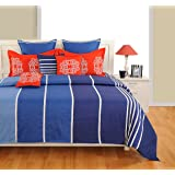 Swayam Blue and White Colour Bed in a Bag Set of 4