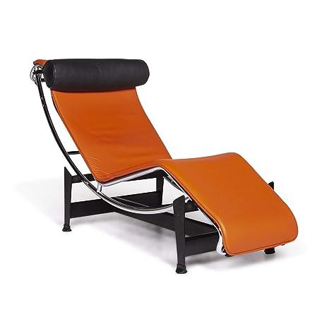 Cassina Le Corbusier LC 4 Designer Leather Lounger Orange ...