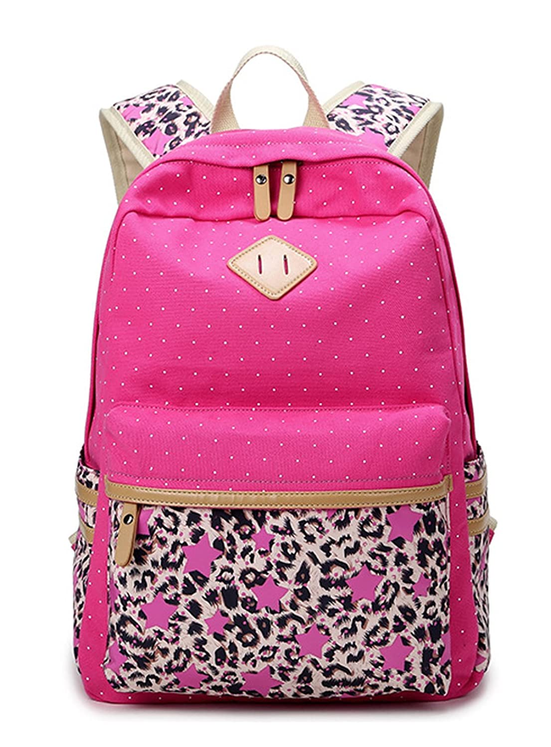 Longzibog Canvas Fashion Backpack Bag, Fashion Cute Lightweight Backpacks for Teen Young Girls