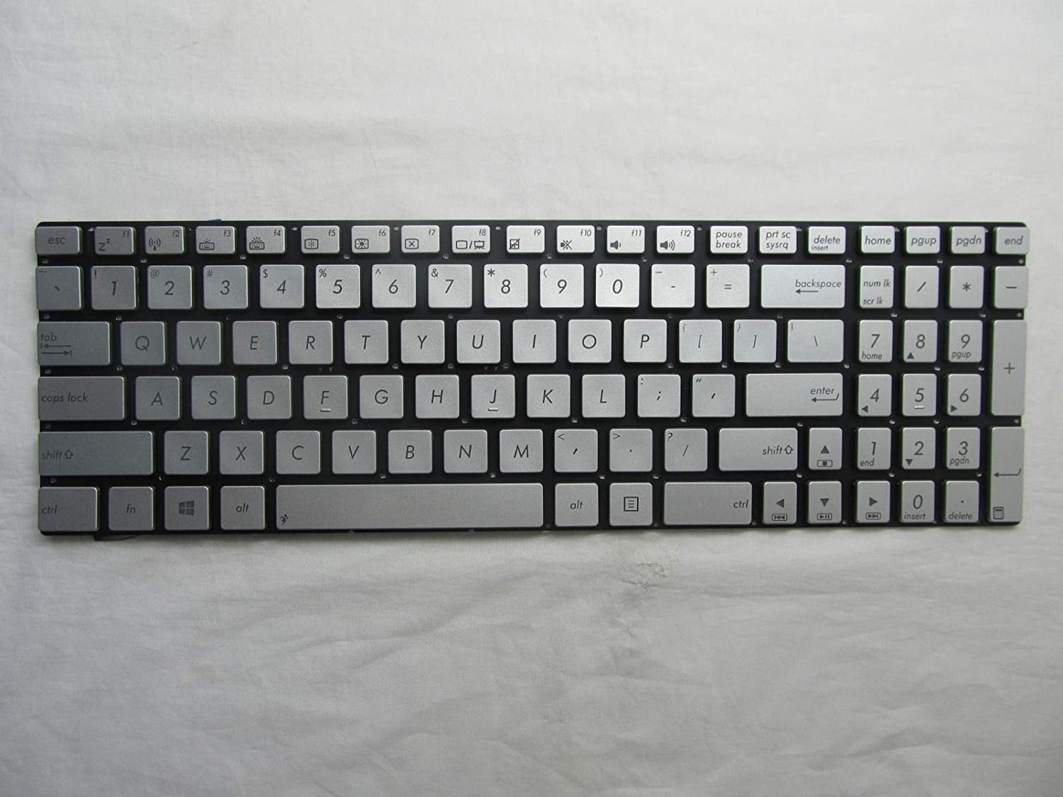 KinFor Product, Original New Silver Backlit Keyboard fit ASUS Q550 Q550L Q550LF + Clear Protector Cover