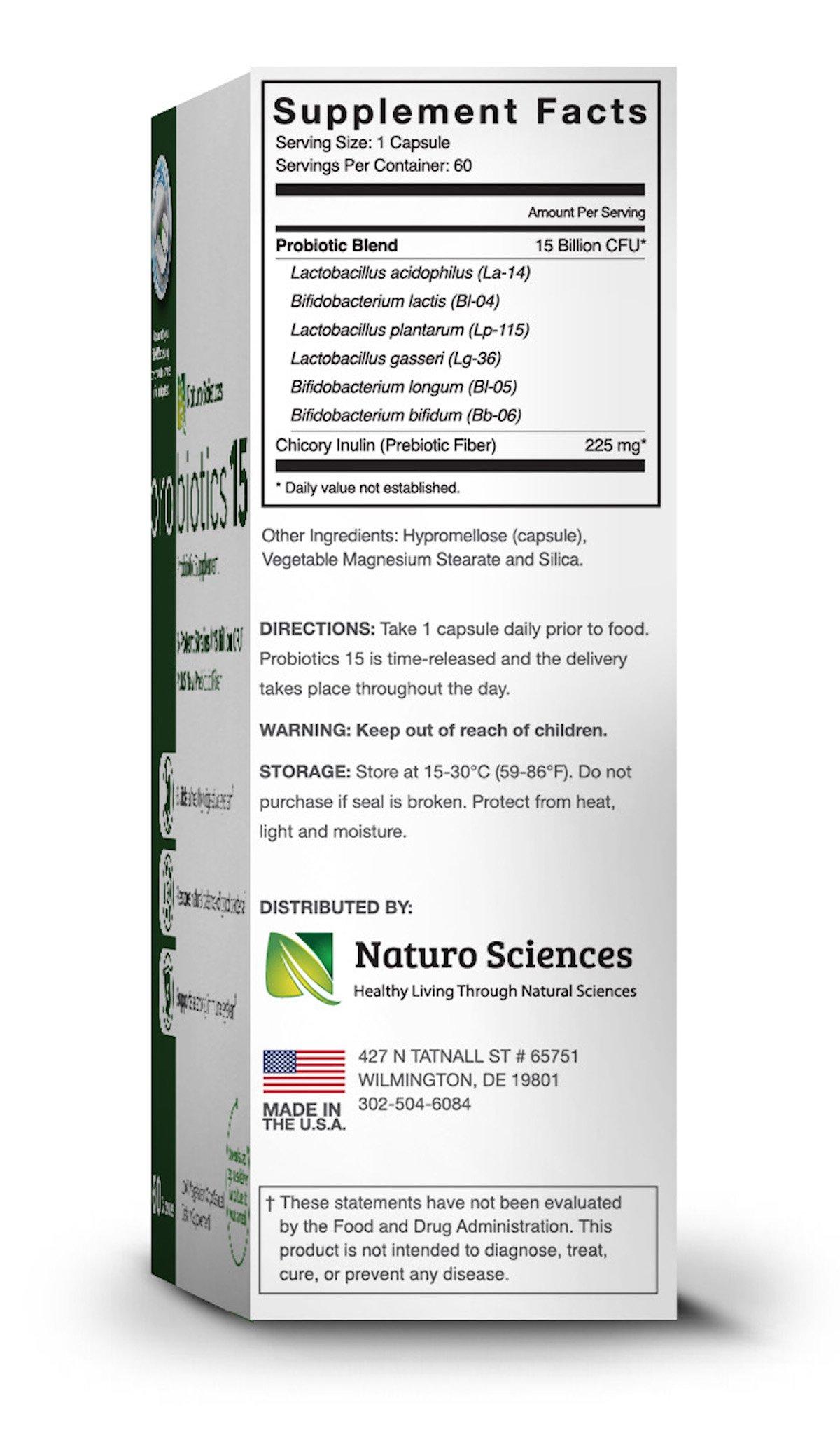 Naturo Sciences Probiotics 15 Billion CFU, Advanced Probiotic Supplement, Time Released Capsules in Dry Nitrogen Filled Blister Packs, 60 Servings, 1 a Day Servings by Naturo Sciences (Image #7)