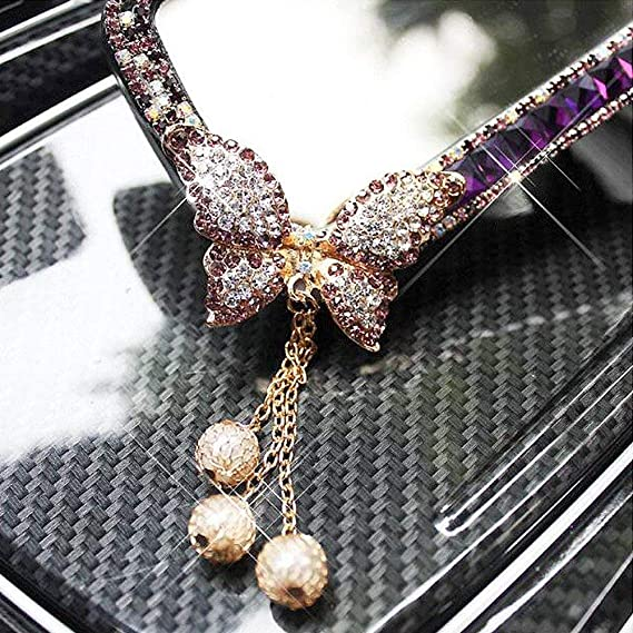 Pink Butterfly Folconauto PVC and Bling Rhinestone Diamond Border Decorate Lace Universal Car Interior Rearview Mirror