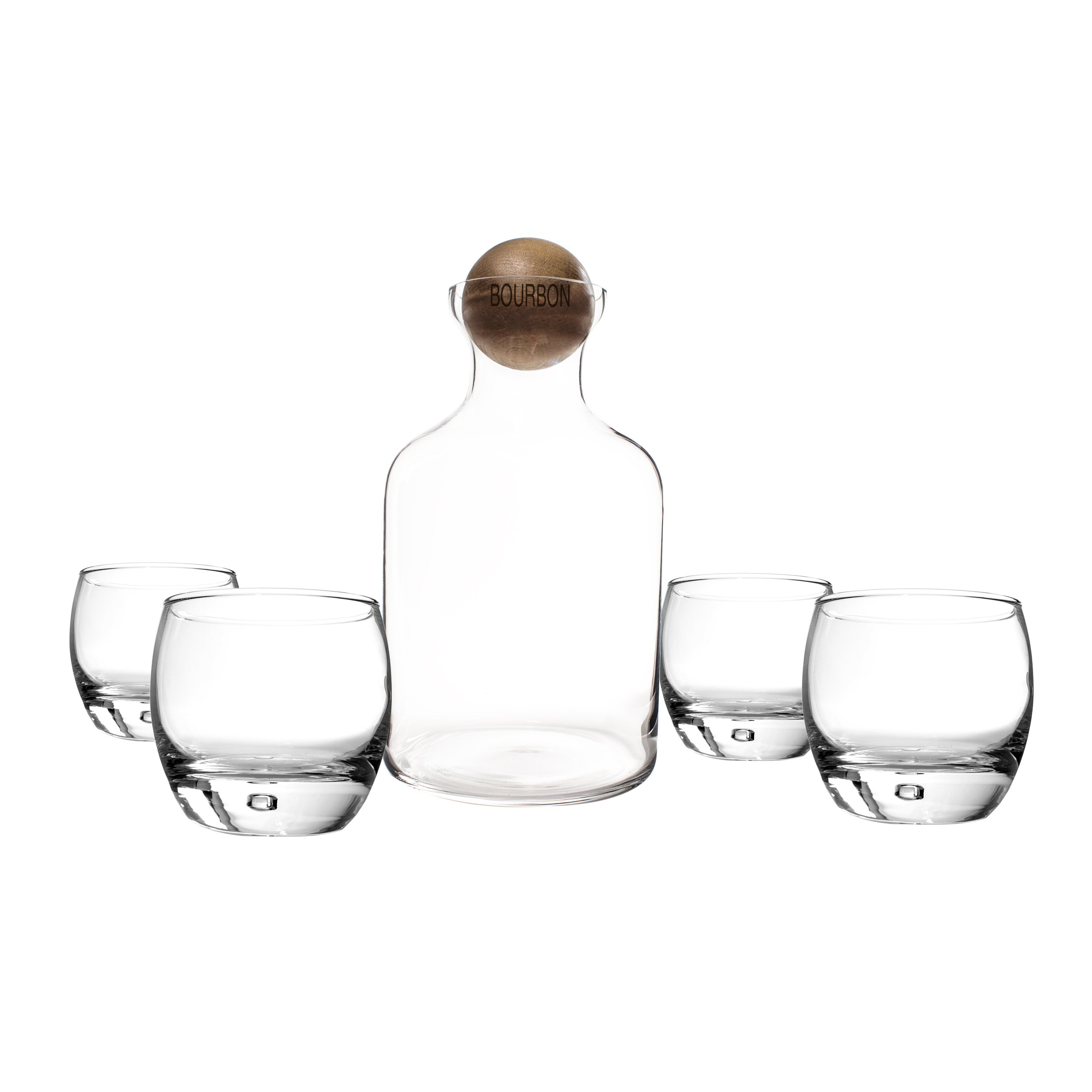 Cathy's Concepts Glass Liquor Decanter with Wood Stopper & Glasses Set, Bourbon by Cathy's Concepts