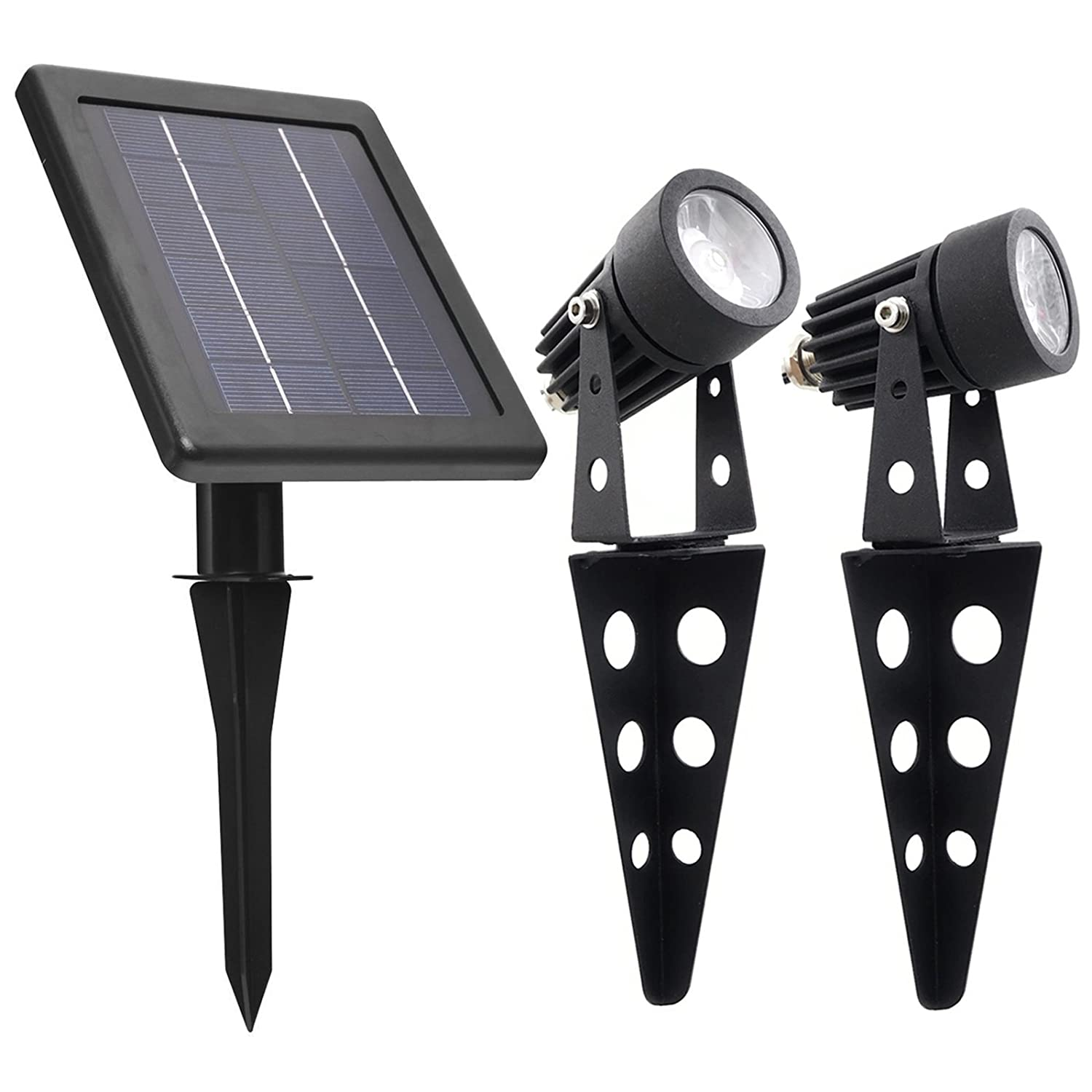 MINI 50X Twin Solar-Powered Cast Aluminum Warm White LED Spotlight