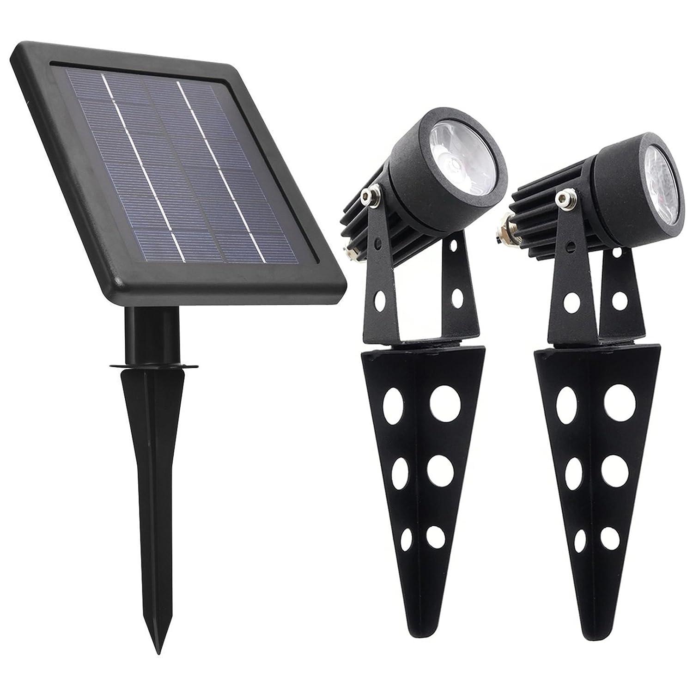 MINI 50X Twin Solar-Powered Cast Aluminum Warm White LED Spotlight