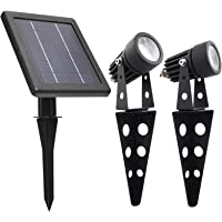 MINI 50X Twin Solar-Powered Cast Aluminium Warm White LED Spotlight 60-100 Lumen Per Light Fixture for Outdoor Garden…