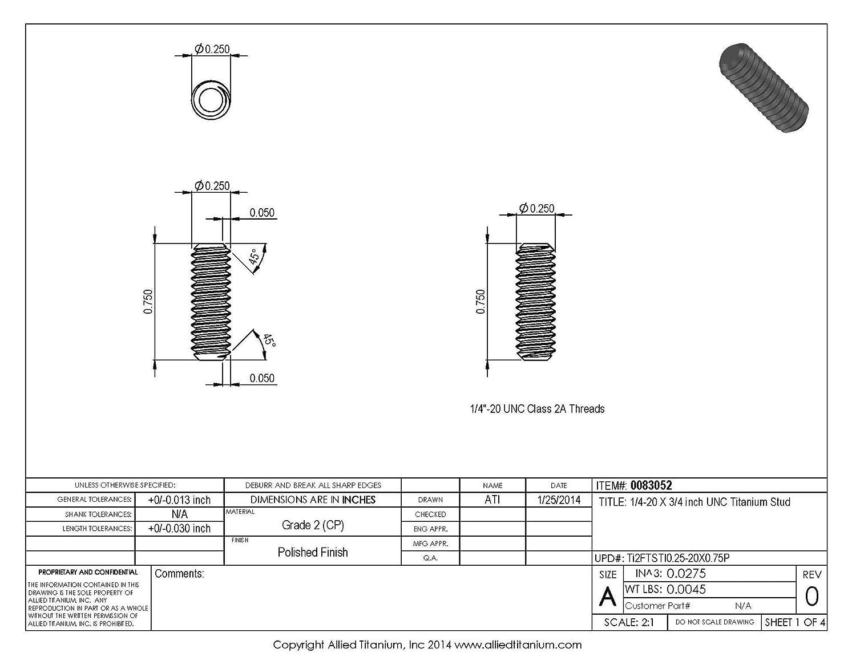 Grade 2 CP Allied Titanium 0083052, Pack of 10 1//4-20 X 3//4 inch UNC Titanium Stud