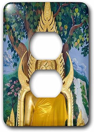 Prayer House-AS36 CMI0159-Cindy Miller Hopkins 2 Plug Outlet Cover Golden Buddha Ko Samui 3dRose lsp/_70852/_6 Thailand