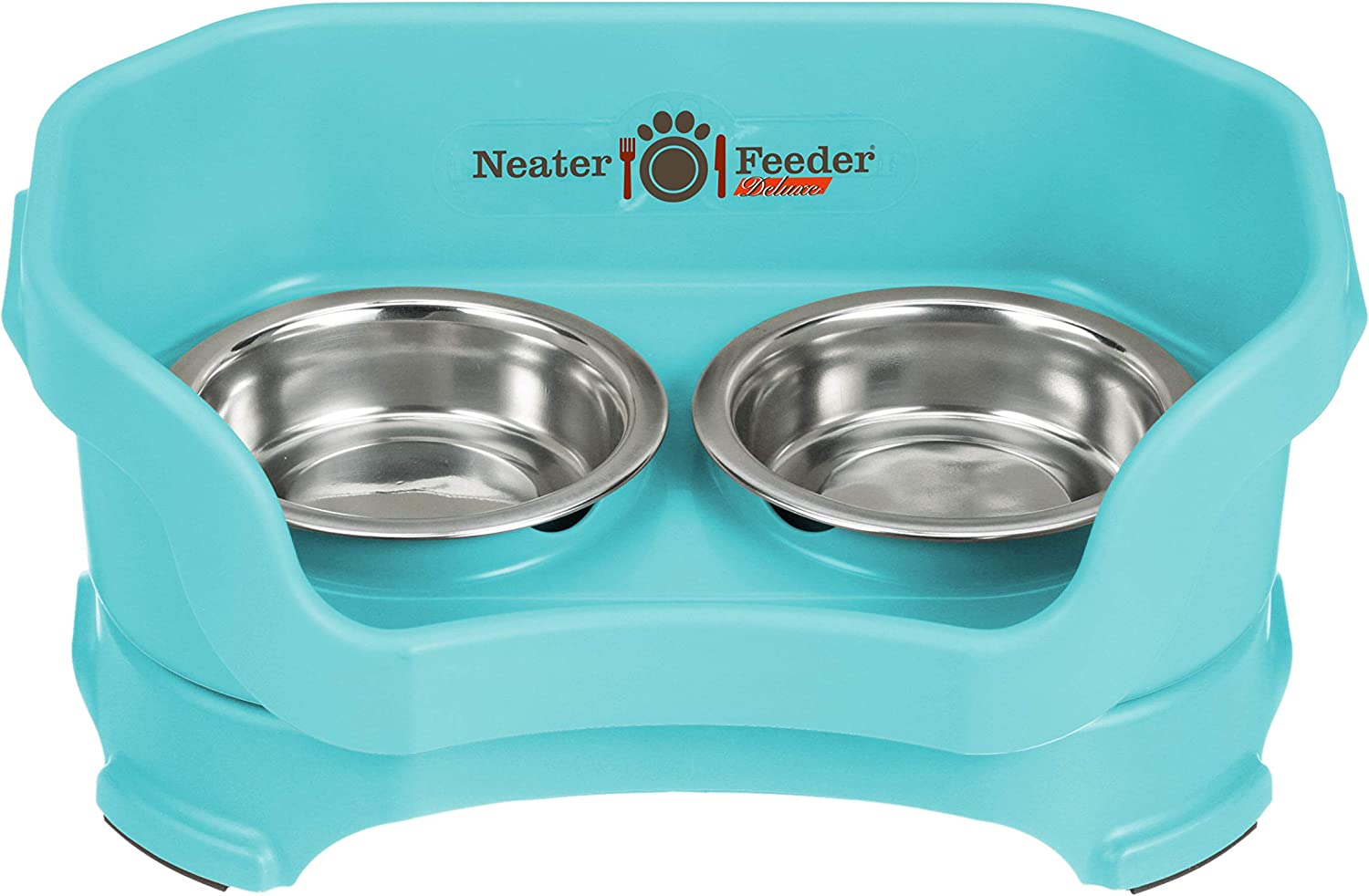 Neater Feeder Deluxe Small Dog (Aquamarine) - The Mess Proof Elevated Bowls No Slip Non Tip Double Diner Stainless Steel Food Dish with Stand