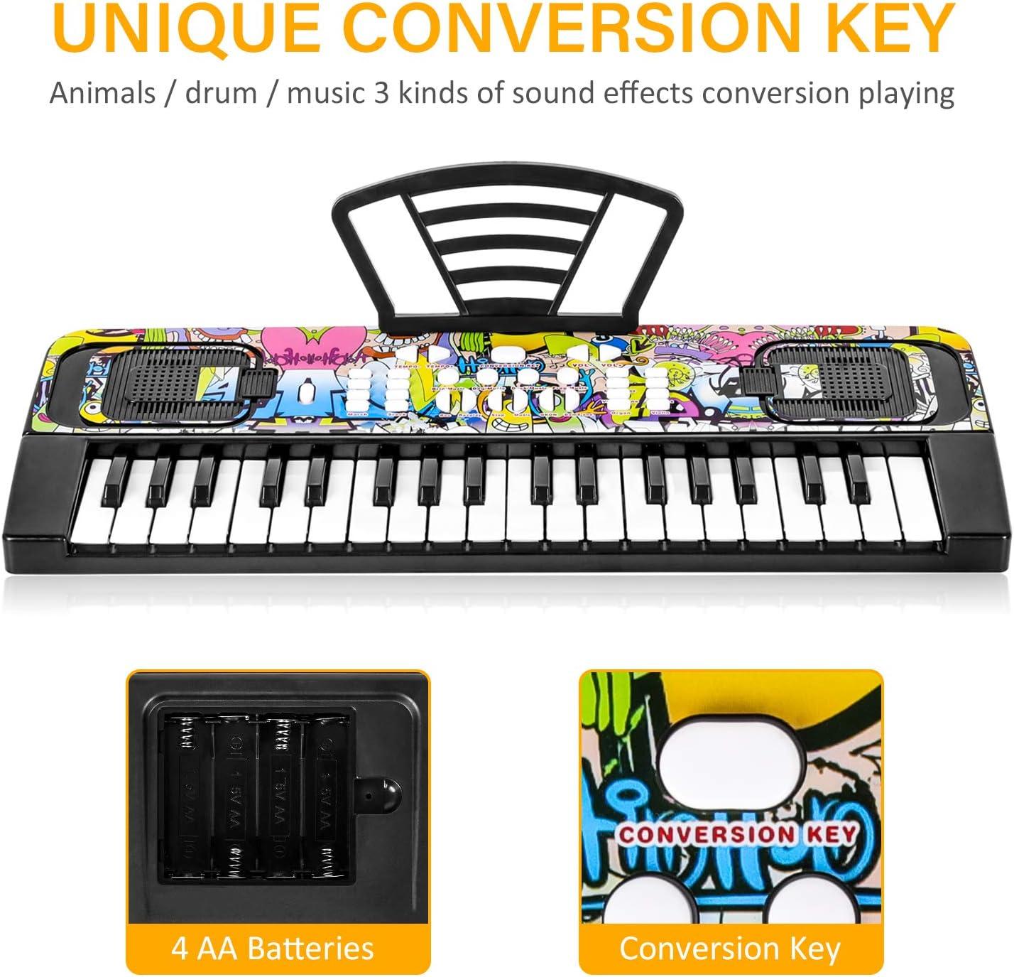 TWFRIC Teclado Electrónico Piano 37 Teclas,Piano para Niños Portátil Musical Digital Piano Educativa Regalo para 3 - 8 Años Niñas Niños Principiantes