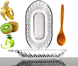 Grater Plate For Baby Food And Eco Friendly Wooden Spoon - Fruits Vegetables Ginger Garlic Onion and Spices Food Clear Grater Plate - Kitchen Tool And Tall Spoon Coffee Honey Tea Stirrer - 2 in 1