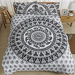 AILOVYO Bedding Duvet Cover Set with Zipper - Grey 3 Piece (1 Duvet Cover + 2 Pillow Shams) Cotton Comforter Cover Set - Queen