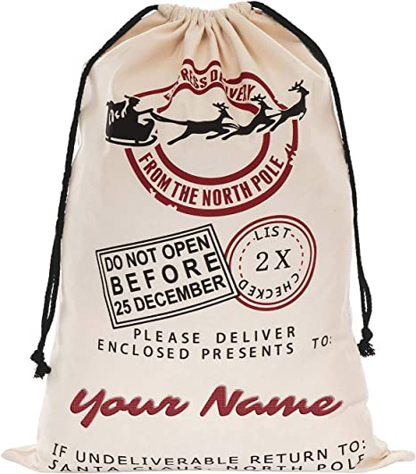 Large Santa Sacks Canvas Burlap Christmas Bags Personalized with names! 19x27