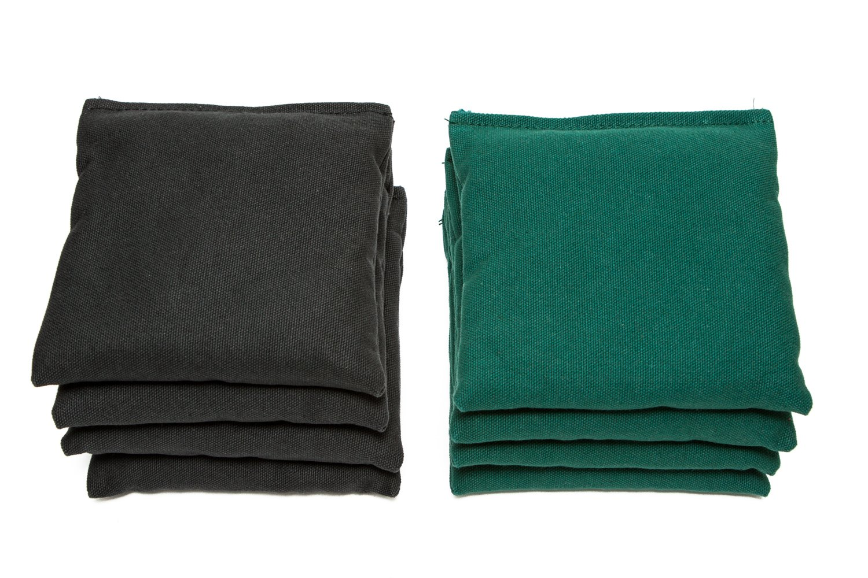 Weather Resistant Cornhole Bags (Set of 8) by SC Cornhole (Black/Hunter Green)