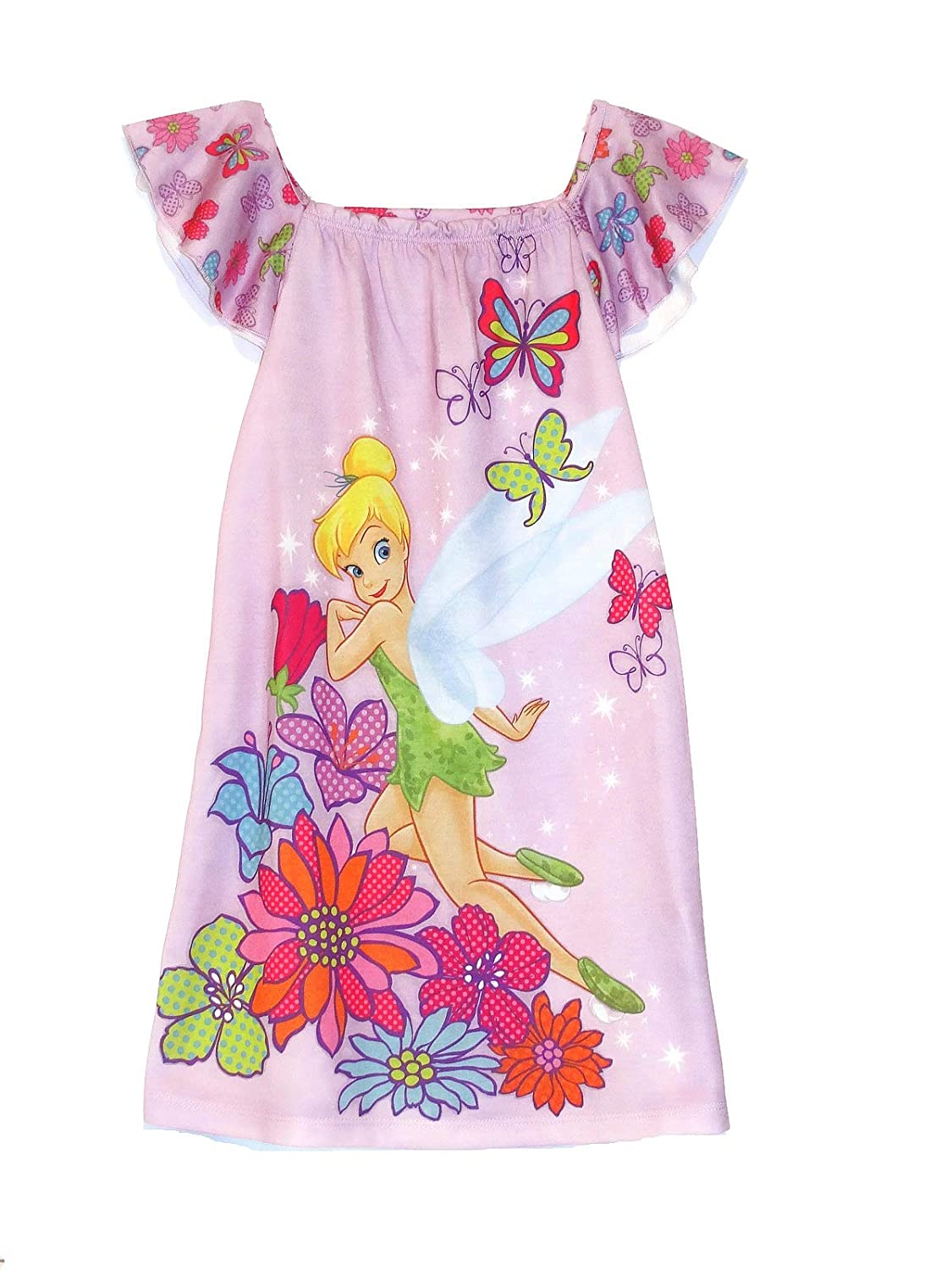 Flutter Sleeve Gown Disney Size 2//3 Tinkerbell Floral Purple Nightgown