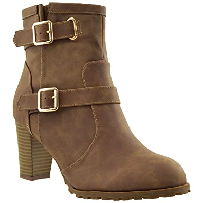 Womens Ankle Boots Adjustable Gold Buckle Strap Stacked Chunky Heel Booties KSC-WB-A20