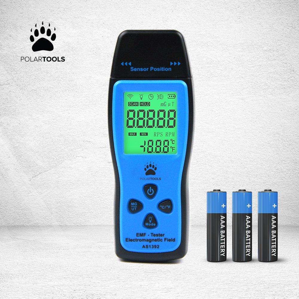 EMF Meter Electromagnetic Field Radiation Detector | Handheld Mini Digital LCD EMF Detector Dosimeter Tester Counter | PolarTools