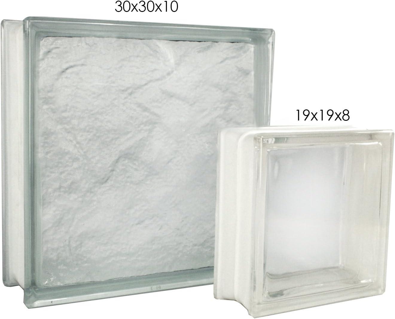 2 piezas FUCHS bloques de vidrio vista completa neutro 30x30x10 cm