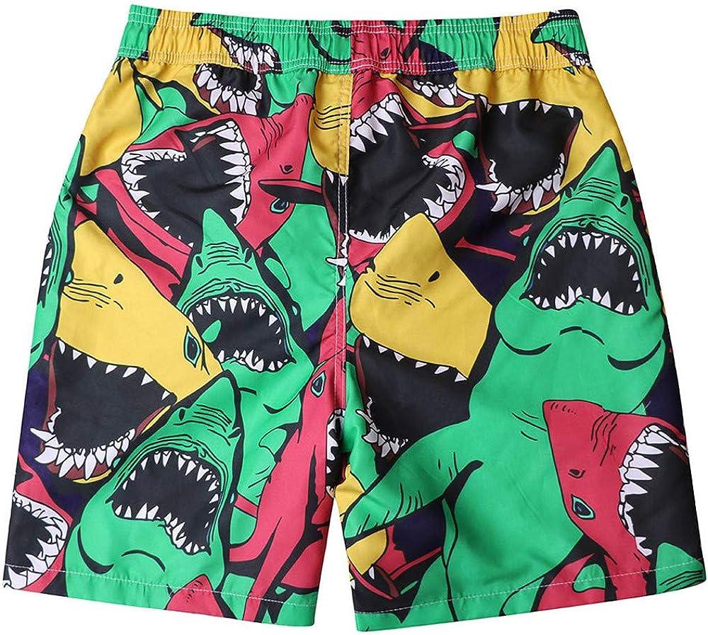 Dempuss Men Sharks Print Beach Shorts Quick Dry Swim Trunks Surfing Running