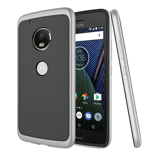7 opinioni per Cover Moto G5 Plus Custodia Slim Fit Dual Layer Non-slip Carbon Fiber Texture