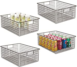 mDesign Farmhouse Decor Metal Wire Food Organizer Storage Bin Baskets with Handles for Kitchen Cabinets, Pantry, Bathroom, Laundry Room, Closets, Garage - 4 Pack - Bronze