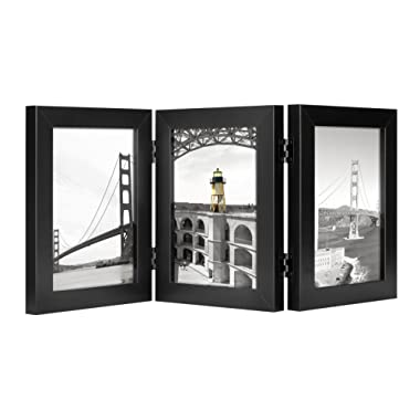 Frametory, 5x7 Inch Hinged Picture Frame with Glass Front - Made to Display Three 5x7 Inch Pictures, Stands Vertically on Desktop or Table Top (Triple, Black)