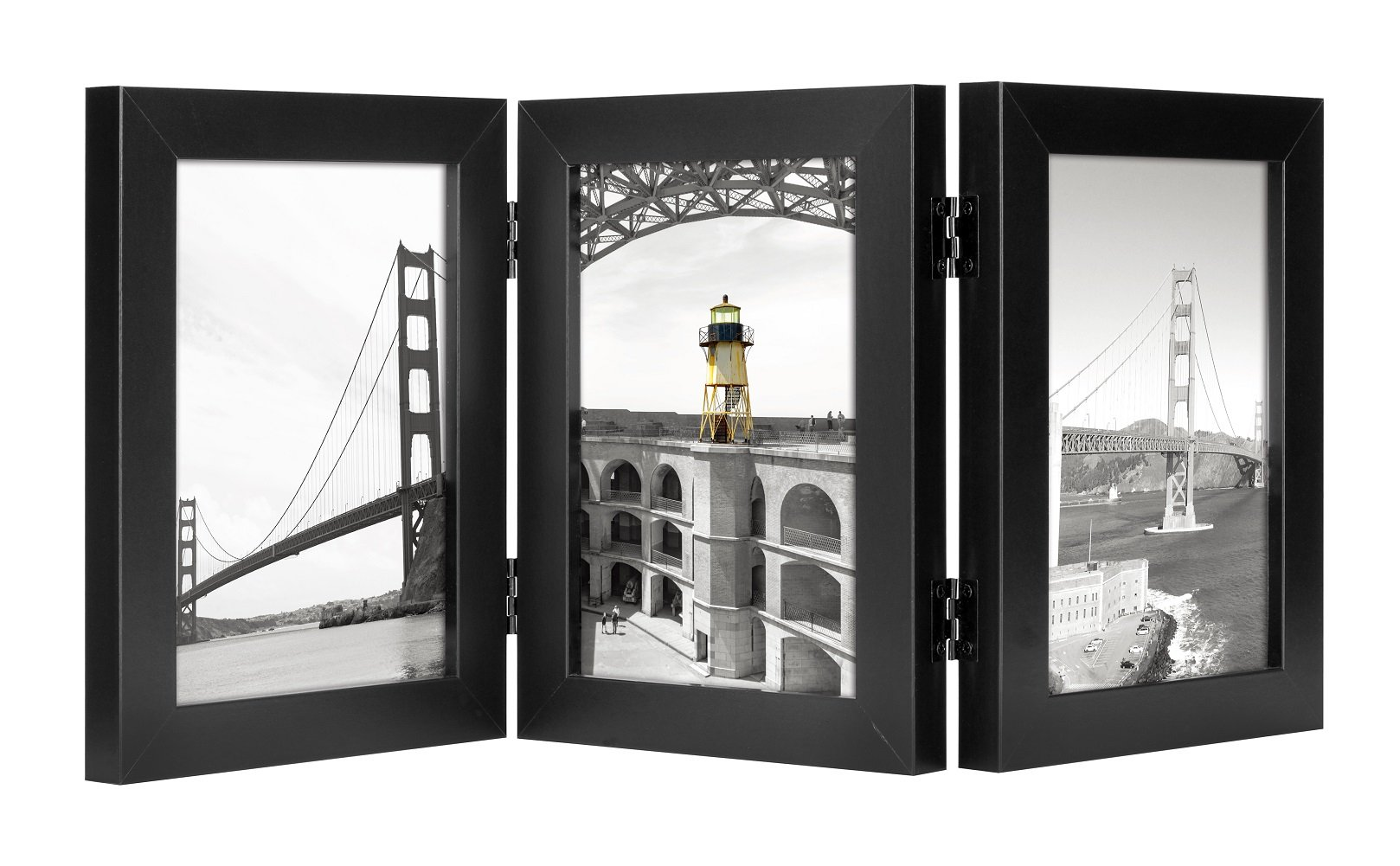 Frametory, 5x7 Inch Hinged Picture Frame with Glass Front - Made to Display Three 5x7 Inch Pictures, Stands Vertically on Desktop or Table Top (5x7-3, Black)