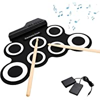 Moroly 9 Pad Portable Electronic Drum Set, Roll-Up Portable Drum Practice Pad Kit With Built-In Speakers,Foot Pedal And Drumsticks For Beginners Children And Professional Practice (Black)