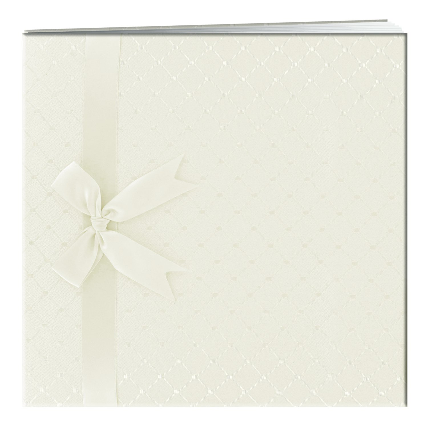 Pioneer 12 Inch by 12 Inch Postbound Diamond Pattern Fabric Cover Memory Book, Ivory