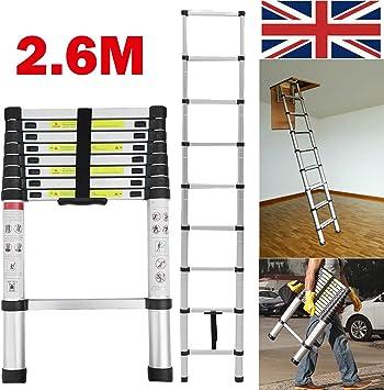DIY escalera telescópica multiusos de aluminio 2,6 m (8,5 pies) portátil 9 pasos extensión escalera extensible: Amazon.es: Bricolaje y herramientas