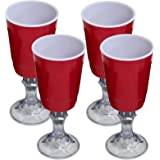Red Cup 16-Ounce Stemmed Wine Glass - 4-Pack