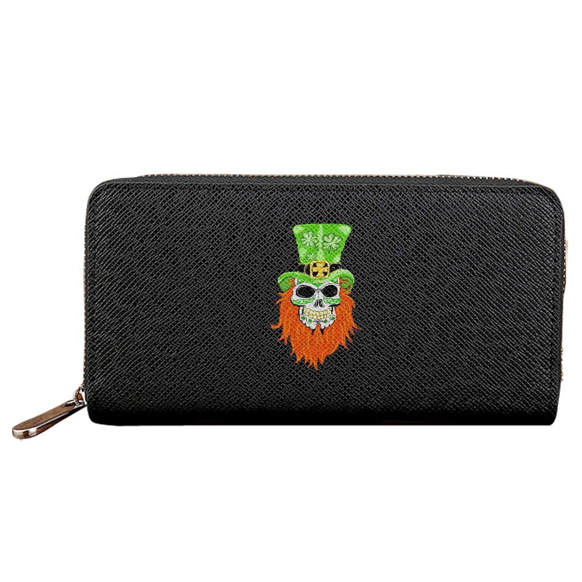 Shamrock Sugar Skull Credit Card With Zipper Wallet Business Casual Hand Wallet