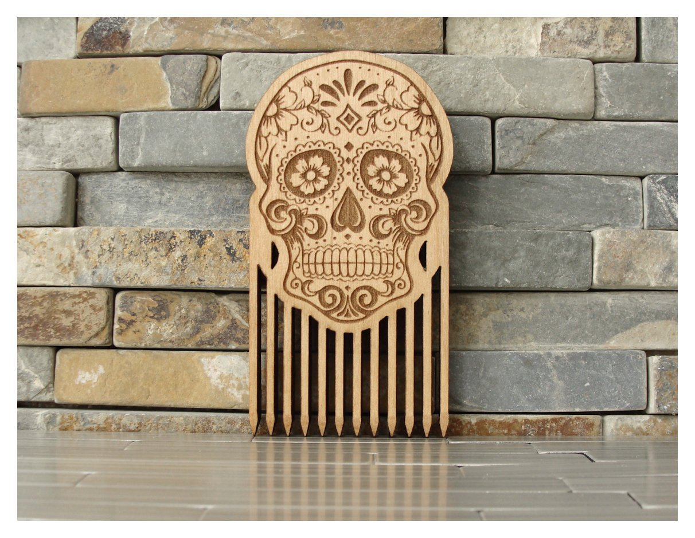 Sugar Skull Wood Beard Comb