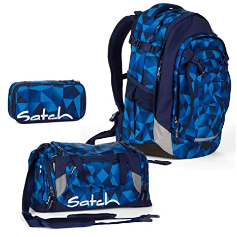 4ae475b8258e8 satch Match by Ergobag  3-teiliges Set Blue Crush Blau Polygon Rucksack