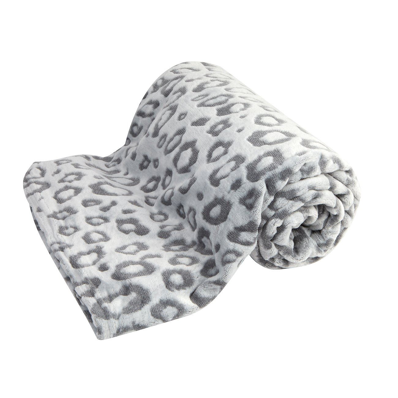 Forever Dreaming Home Essentials Fleece Animal Print Blanket Grey Leopard