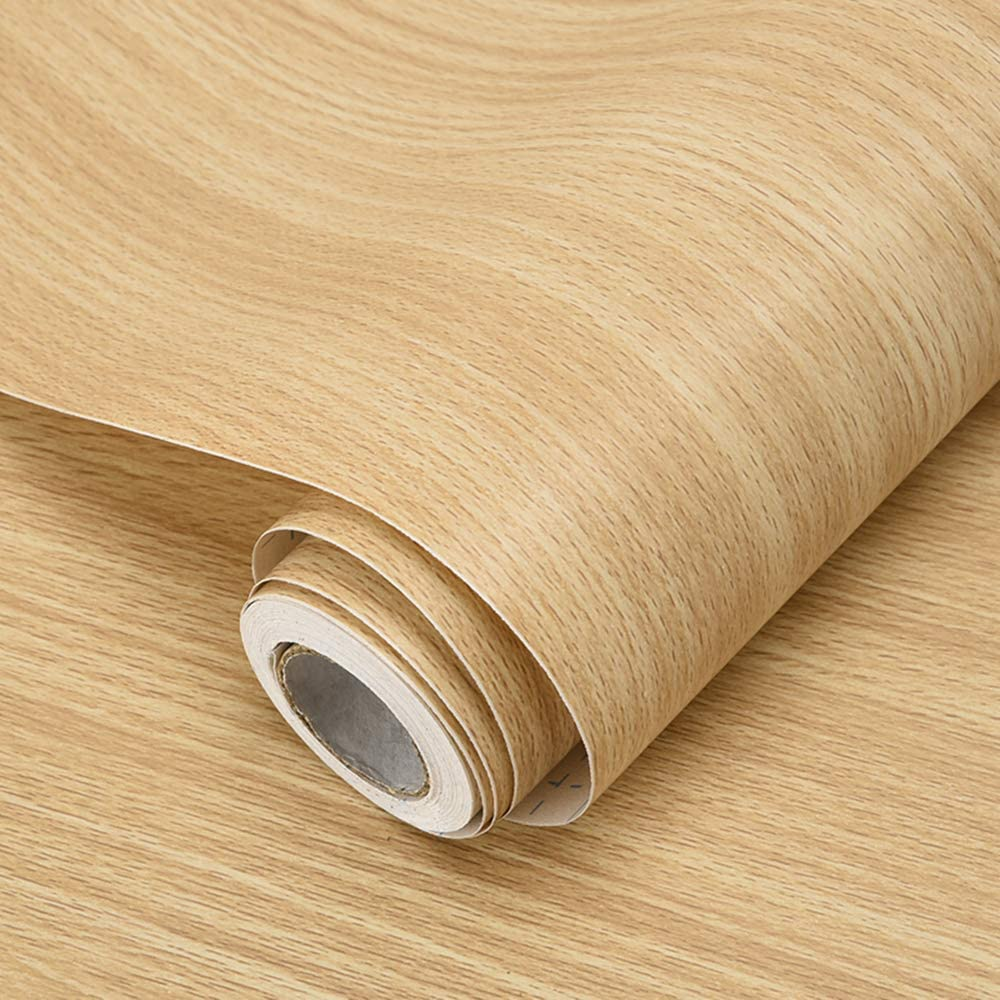 17.7in×118in Wood Wallpaper Peel and Stick Wood Grain Pattern Self Adhesive Wood Plank Wall Coverings Wood Panel Vinyl Film Home Decor for Cabinet Drawer Shelf Liner Easy to Apply
