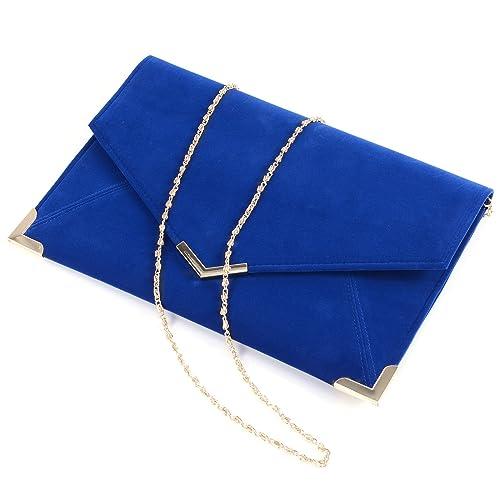 Damen Umschlag Tasche Wildleder Clutch Bag Abendtasche Umhaengetasche  Koenigsblau