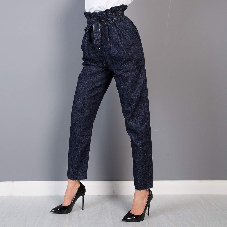MForshop Jeans Donna Blue Pantaloni Vita Alta Elastico Fiocco Aderente Slim Fit New b7758