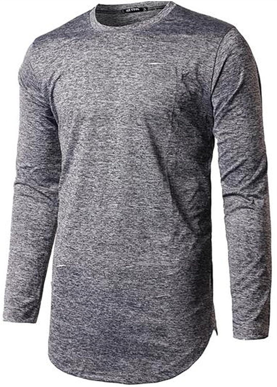 Unko Mens Casual Solid Faded Curve Hem Autumn Top Tshirts