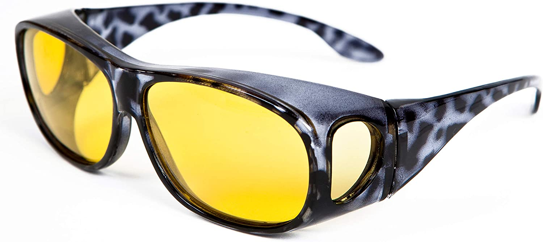 Opticaid notte mirino sopra gli occhiali per la guida notturna progettata per essere indossato sopra gli occhiali da vista Fit over occhiali polarizzati antiriflesso nero Demi Amber categoria 1/lenti