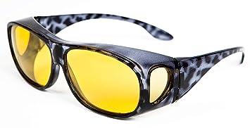 Opticaid - Gafas de visión nocturna para conducir por la noche, diseñadas para llevarse sobre gafas graduadas, con lentes polarizadas antirreflejos, ...