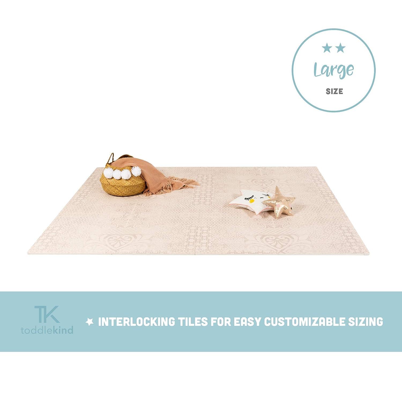 Large 180x240cm - 2Mat Krabbelmatte von Toddlekind  Spielmatte in Premium Qualität Extra Dicke, Abwischbare Puzzlematte Beige, multifunktional Kinder Spielteppich 0m+