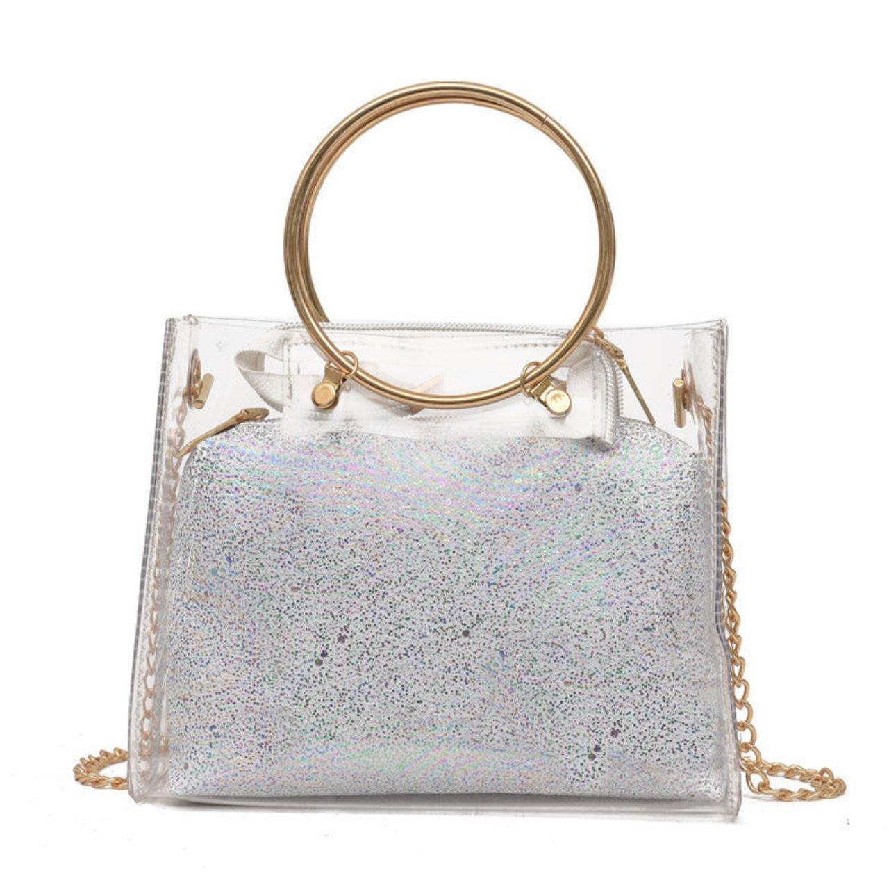 Women's Clear Transparent Metallic Strap Shoulder Crossbody Handbag Clutch with Inner Cosmetic Bag (White)